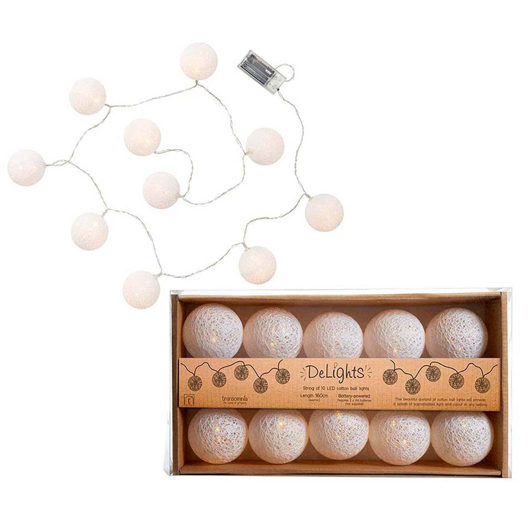 String Of Cotton Pom Pom Ball LED Lights White