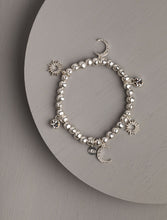 Load image into Gallery viewer, Torah Multi Charm Stretch Silver Bracelet