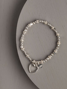 Delta Heart Silver Stretch Bracelet