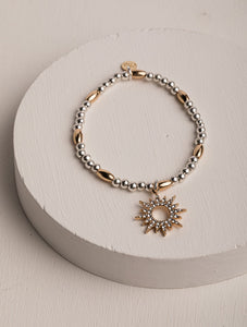 Lowri Sunburst Silver & Gold Stretch Bracelet