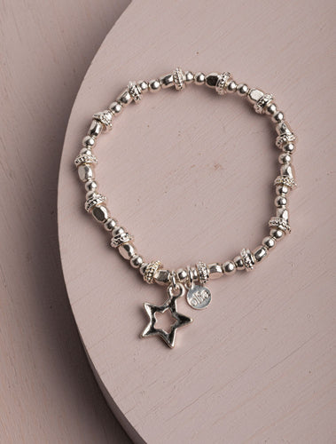 Carrington Star Silver Stretch Bracelet