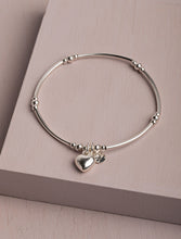 Load image into Gallery viewer, Keyla Heart Charm Silver Noodle Bracelet