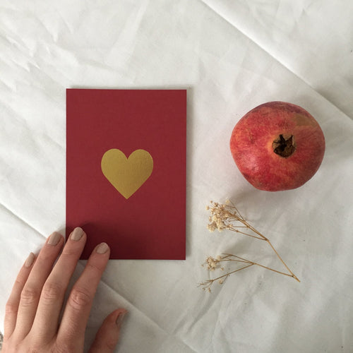 Gold Heart Greetings Card