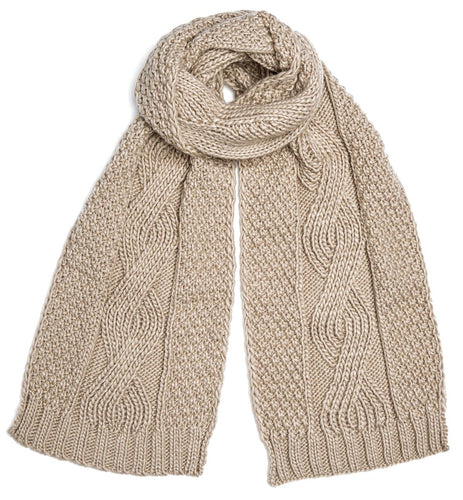Darby Oatmeal Cable Knit Scarf