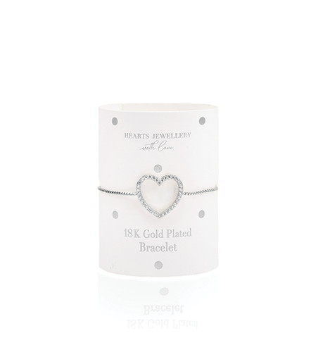Silver Plated Heart Diamante Bracelet