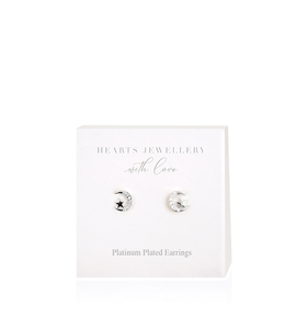 Silver Moon & Stars Diamante Earrings