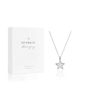 Silver Star Diamante Necklace