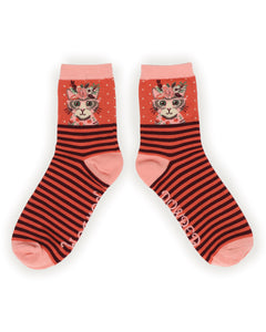 Floral Kitty Bamboo Ankle Socks