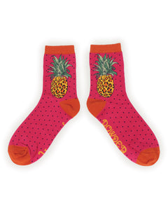 Leopard Pineapple Bamboo Ankle Socks
