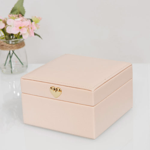 Estella Blush Pink Leatherette Jewellery Box