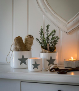 Nested Set Of 3 Grey Star White Ceramic Pots