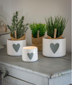 Nested Set Of 3 Grey Heart White Ceramic Pots