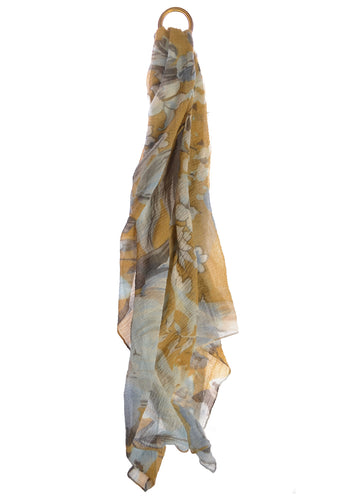 Hot Tomato Botanical Scarf In Soft Mustard & Aqua