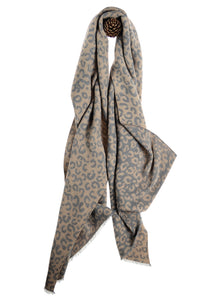 Hot Tomato Animal Print Scarf in Grey & Mocha