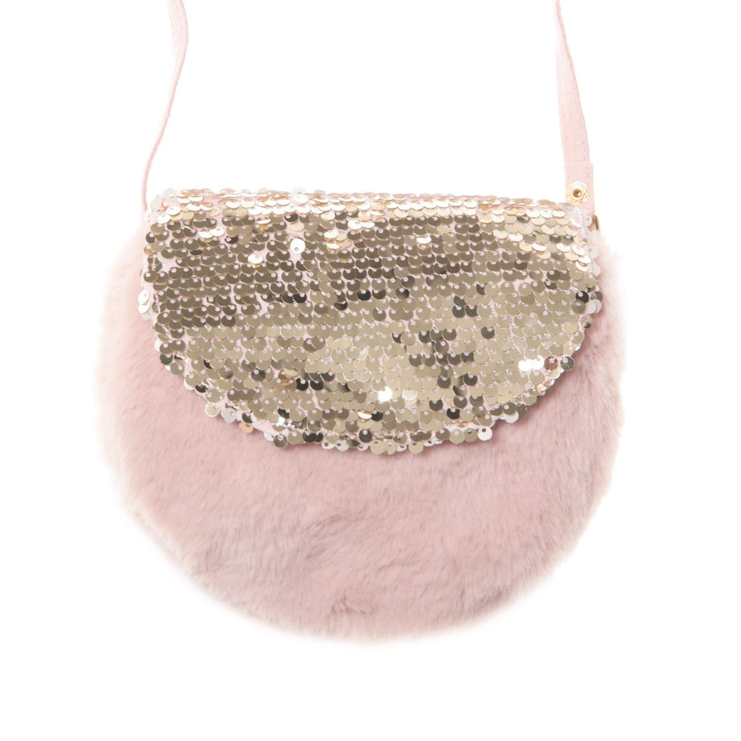 Shimmer sequin Fur bag in Blush Pink