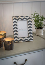 Load image into Gallery viewer, Mother Of Pearl Grey Chevron Frame
