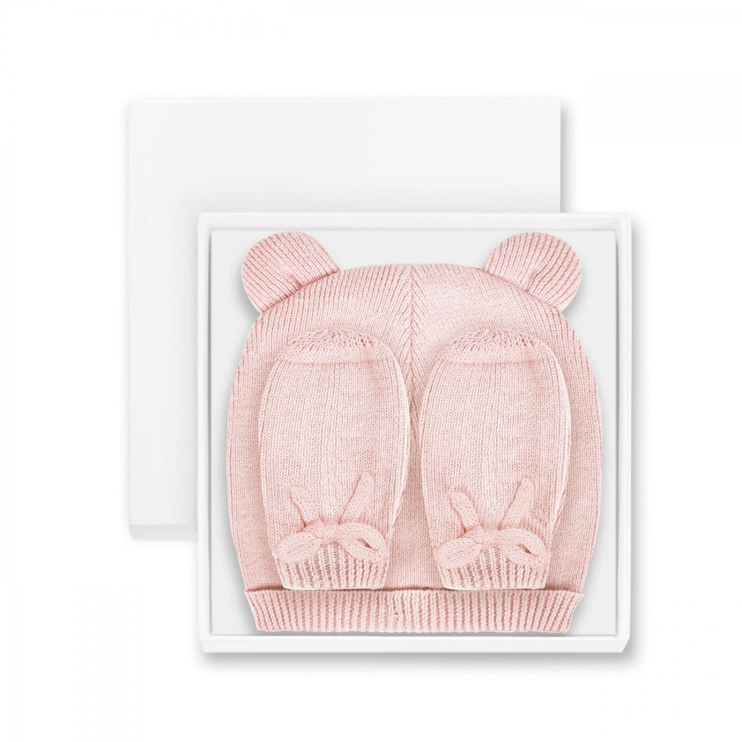Fine Knit Boxed Baby Hat & Mittens Pink