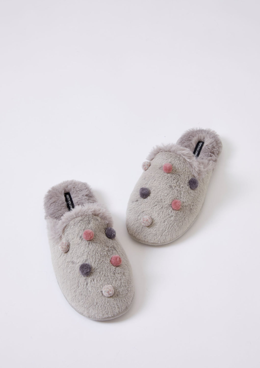Grey Moleskin With Coloured Poms Ladies Slippers