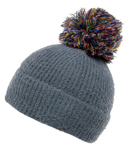 Zola Grey Knit Pom Hat