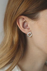 Mineral Silver Circle Earrings