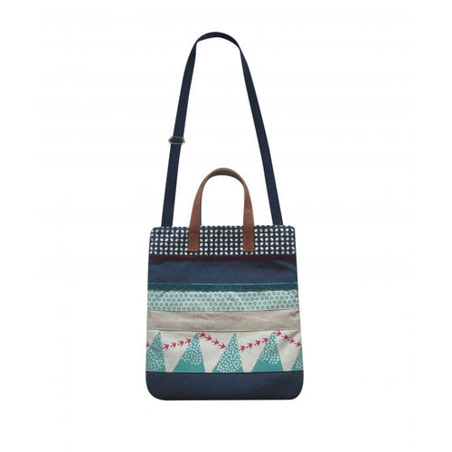 Earth Squared Screen Print Patchwork New Messenger Bag / Tote Bag (Navy or Grey)