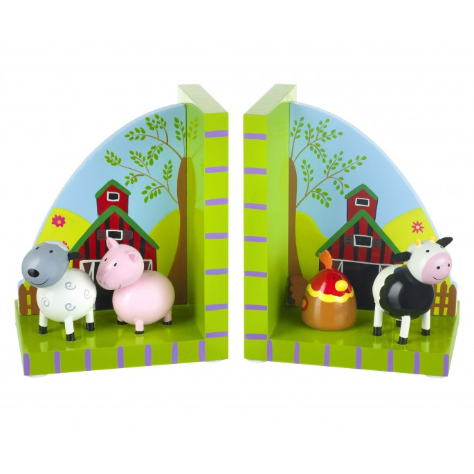 Wooden Farmyard Bookends