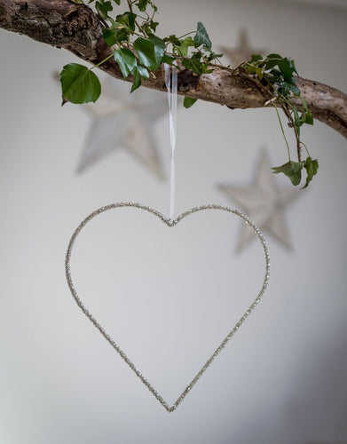 Beaded Silver Heart Decoration