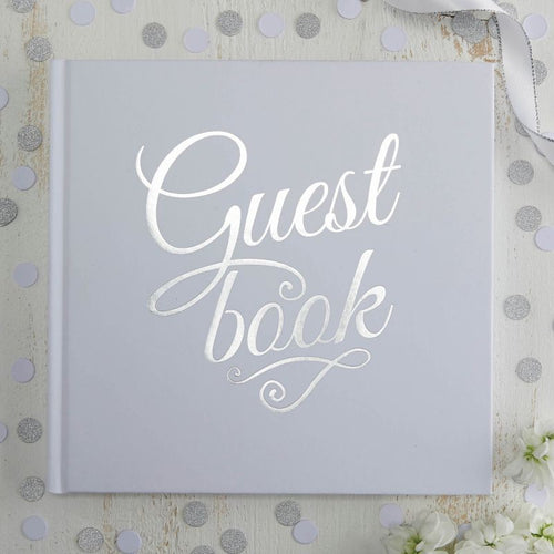 White & Silver Foiled Guest Book