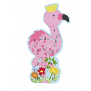 Wooden Flamingo Number Puzzle
