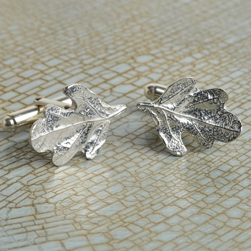 Glover and Smith Pewter Oak Leaf Cufflinks