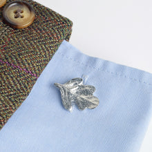 Load image into Gallery viewer, Glover and Smith Pewter Oak Leaf Cufflinks