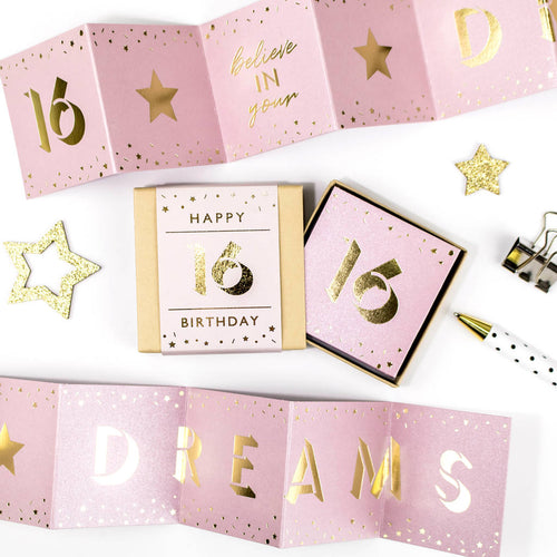 Believe in your Dreams 16th Birthday Boxed Concertina Card