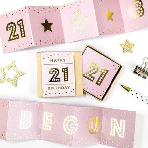 The Fun's Begun 21st Birthday Boxed Concertina Card