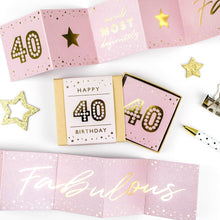Load image into Gallery viewer, Fabulous 40th Birthday Boxed Concertina Card