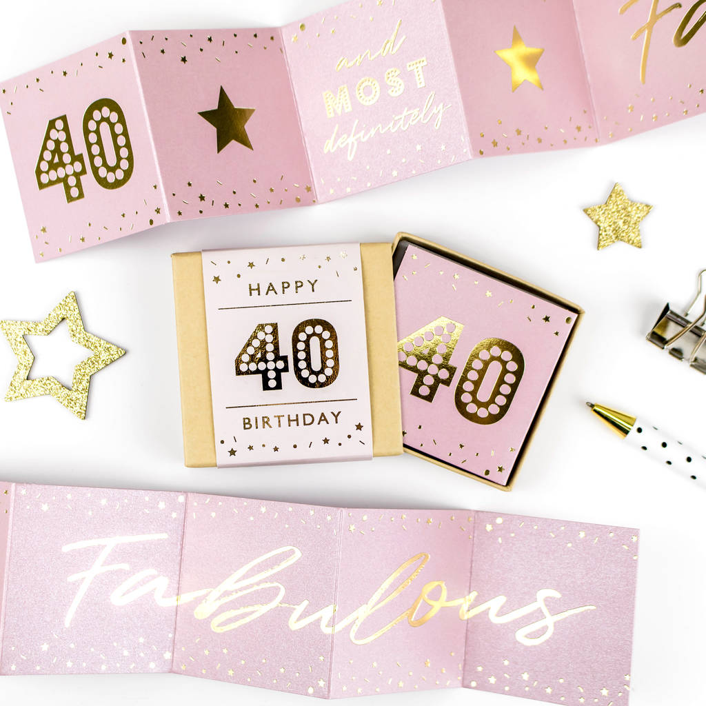 Fabulous 40th Birthday Boxed Concertina Card