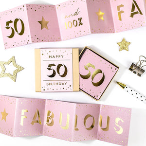 Fabulous 50th Birthday Boxed Concertina Card