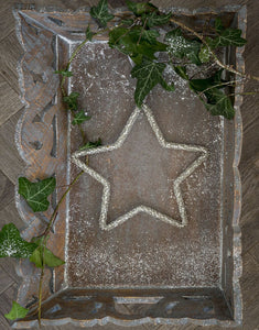 12cm Beaded Silver Star Decoration