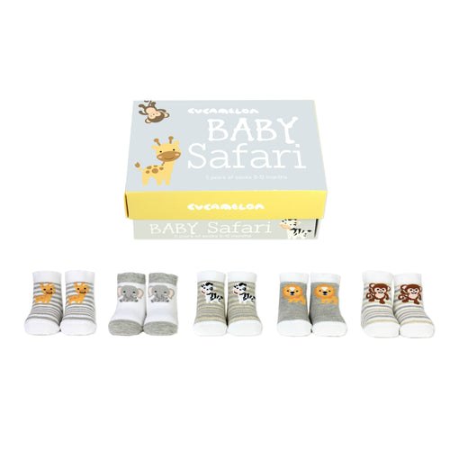 Baby Safari Five Pairs Of Socks Boxed Set