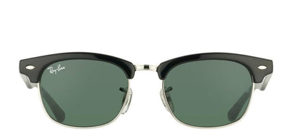 Ray-Ban Jr RJ 9050 Clubmaster Plastic Sunglasses - Black And Silver with Green Lens
