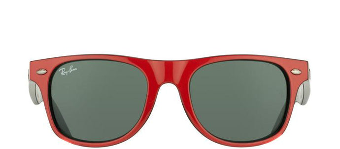Ray-Ban Jr RJ 9035 Wayfarer Plastic Sunglasses - Top Red on Black with Green Lens
