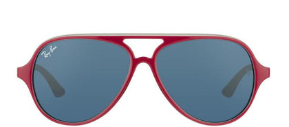 Ray-Ban Jr RJ 9049 Aviator Plastic Sunglasses - Top Red On Grey with Blue Lens