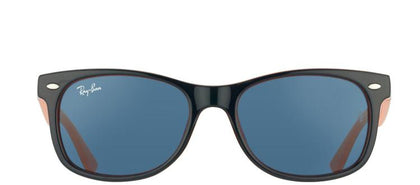 Ray-Ban Jr RJ 9052 Wayfarer Plastic Sunglasses - Blue On Orange with Blue Lens
