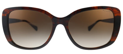 Ralph by Ralph Lauren RA 5223 162513 Shiny Striped Brown Rectangle Plastic Sunglasses