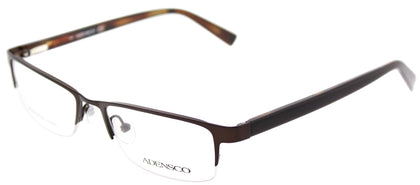 Adensco Adensco 101 JBQ Matte Brown Semi-Rimless Metal Eyeglasses