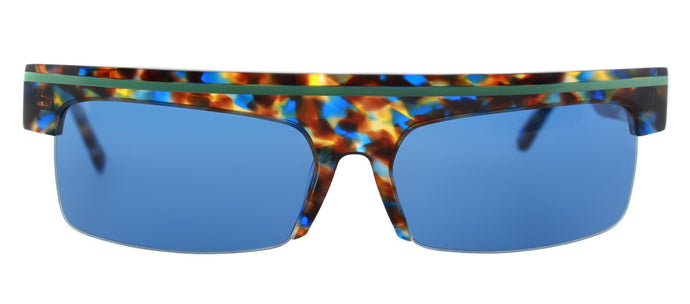 Cynthia Rowley Eyewear CR 5025 S 25 No. 40 LTD Blue Texture w/Solid Blue lens Rectangle Plastic Sunglasses