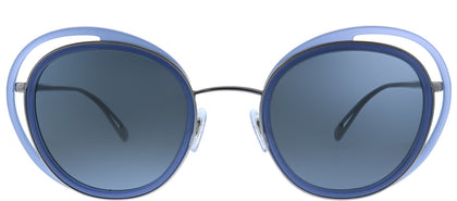 Giorgio Armani AR 6081 301087 Opal Blue Gunmetal Cat-Eye Metal Sunglasses