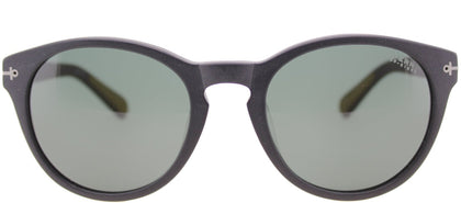 Sperry SP Weymouth Oval Plastic Sunglasses - Matte Black with Green Lens