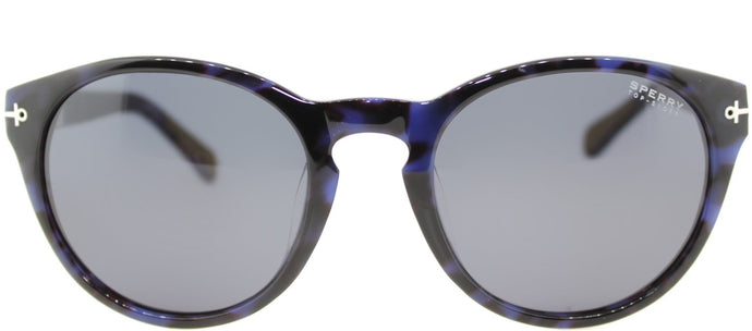 Sperry SP Weymouth Oval Plastic Sunglasses - Navy Tortoise with Blue Lens