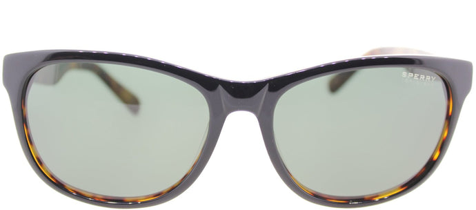 Sperry SP Huntington C01 Oval Plastic Sunglasses - Black Tortoise with Green Lens