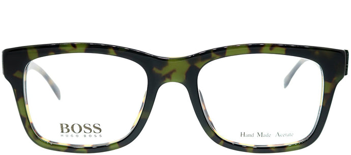 Hugo Boss BOSS 0641 HRM Green Havana Rectangle Plastic Eyeglasses